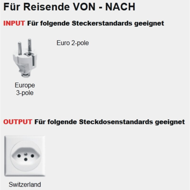 Reiseadapter Schweiz-Deutschland - Skross Single Travel Adapter 1.500205