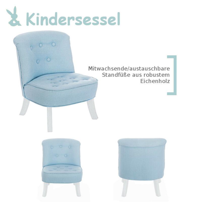 Kindersessel design  Design Kinder-Sessel mitwachsend Blaue Leinen + Weiße Füße Somebunny ...
