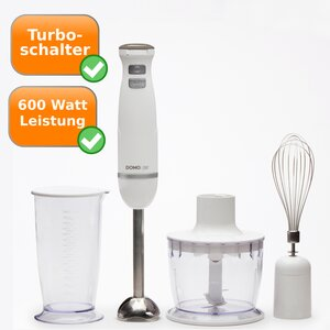 Stabmixer-Set Domo pur DO9144M Turbo-Mixer 600W weiß