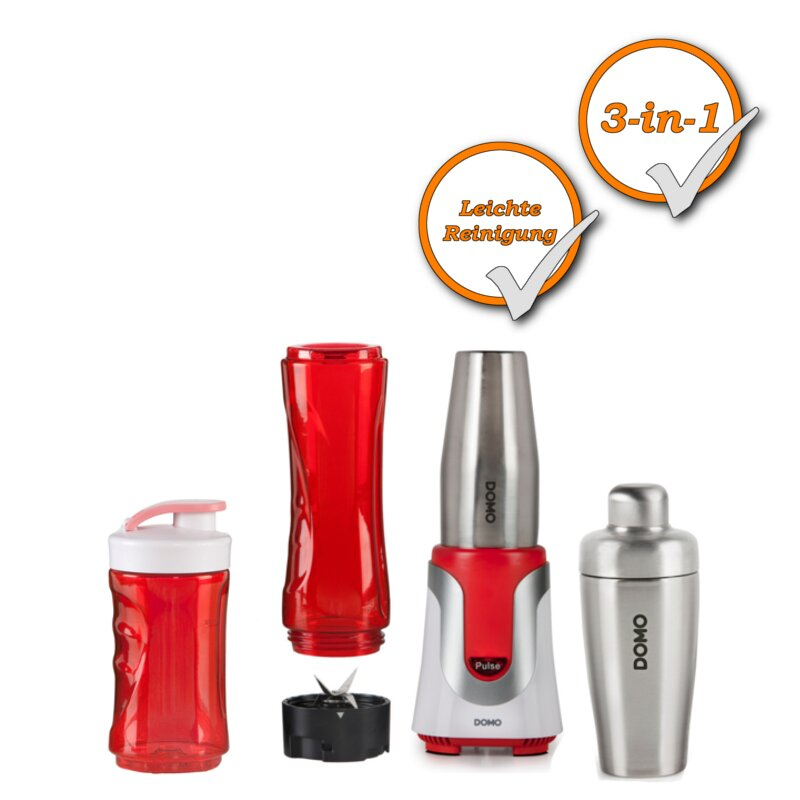 2in1 Smoothiemaker und Cocktailshaker + Trinkflaschen DOMO DO449BL