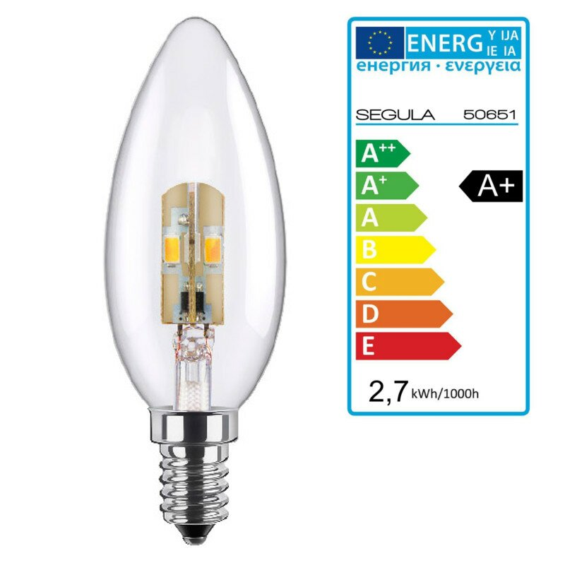 LED Kerze klar E14 2,7Watt, dimmbar, Segula 50651 LED Lampe
