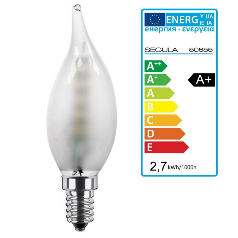 LED Kerze Windstoss matt E14 2,7Watt, dimmbar, Segula 50655 LED Lampe