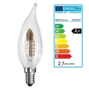 LED Kerze Windstoss klar E14 2,7Watt dimmbar Segula 50656