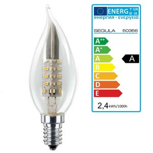 LED Kerze Windstoss klar E14 2,4Watt, Segula 50356 LED Lampe