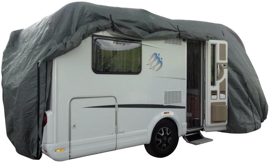 hochwertige Luxus Wohnmobilsabdeckung von Camperware grau offen