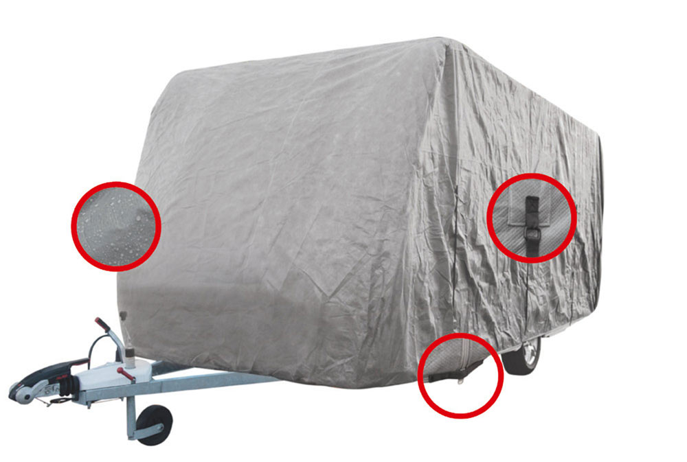 hochwertige Luxus Wohnmwagenabdeckung von campersten® grau offen